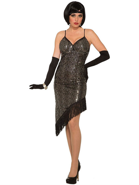 Flapper Dress Sequin Black