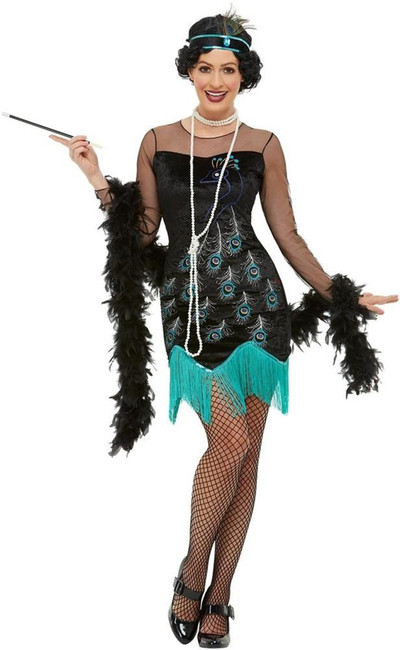 20s Peacock Flapper Costume, Womens Fancy Dress, UK Size 12-14
