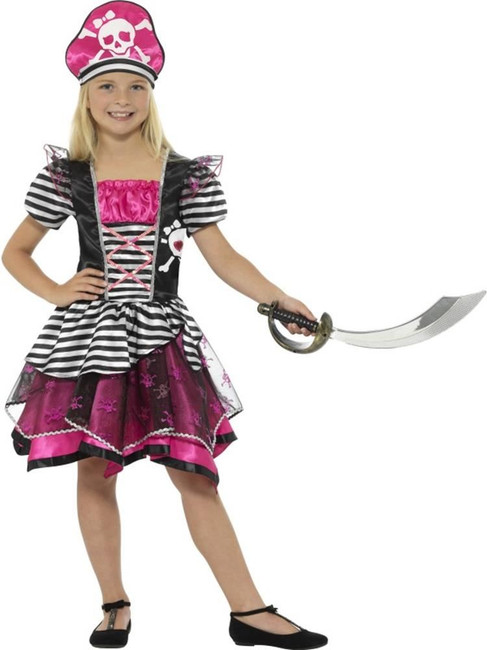 Black & Pink Perfect Pirate Girl Costume, Girls Fancy Dress. Medium Age 7-9