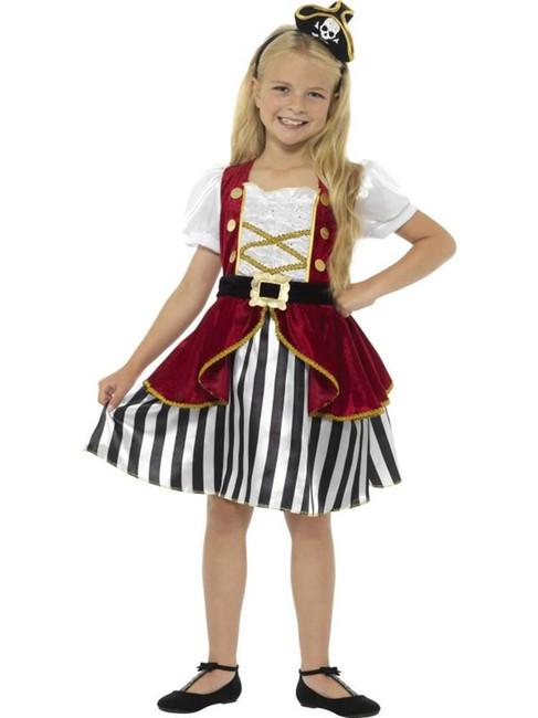 Red & Black Deluxe Pirate Girl Costume, Girls Fancy Dress. Medium Age 7-9