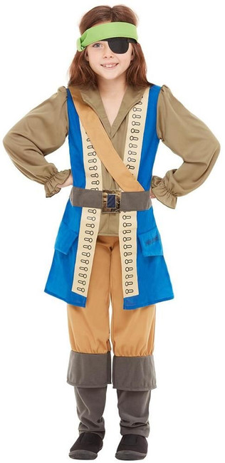 Horrible Histories Pirate Captain Costume, Girls Fancy Dress, Small Age 4-6