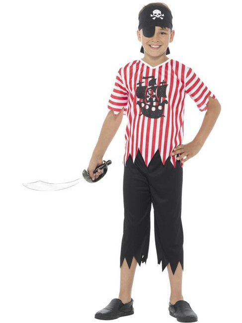 Red & White Jolly Pirate Boy Costume, Boys Fancy Dress. Medium Age 7-9