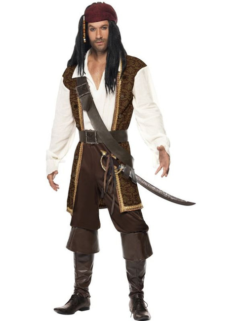 "High Seas Pirate Costume, Chest 38""-40"", Leg Inseam 32.75"""