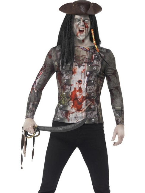 Zombie Pirate T-Shirt, Large, Adult Fancy Dress Costumes, Mens
