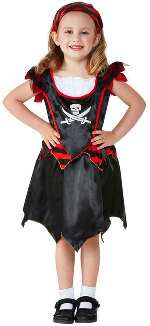 Toddler Pirate Skull & Crossbones Costume, Childs Fancy Dress, Toddler Age 3-4