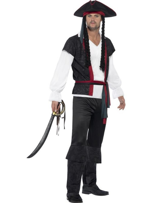 Aye Aye Pirate Captain Costume, Medium, Adult Fancy Dress Costumes, Mens