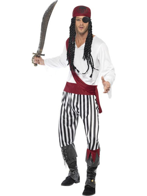 "Pirate Man Costume, Chest 42""-44"", Leg Inseam 33"""