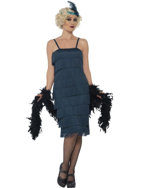 Flapper Costume, Large, Black, 1920s Charlston Fancy Dress, Womens, UK 16-18
