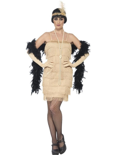 Flapper Costume, Large, Gold,1920s Charlston Fancy Dress, Womens, UK 16-18