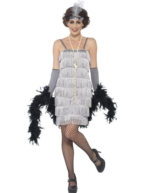 Flapper Costume, Small, 1920s Charlston Fancy Dress, Womens, Silver, UK 8-10