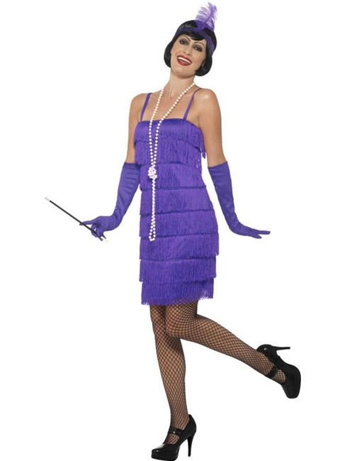 Flapper Costume,XL, Purple, 1920s Charlston Fancy Dress Costumes,Womens,UK 20-22