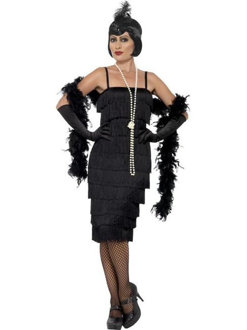 Flapper Costume,Large, Black, 1920s Charlston Fancy Dress Costumes,Womens,UK 16-18