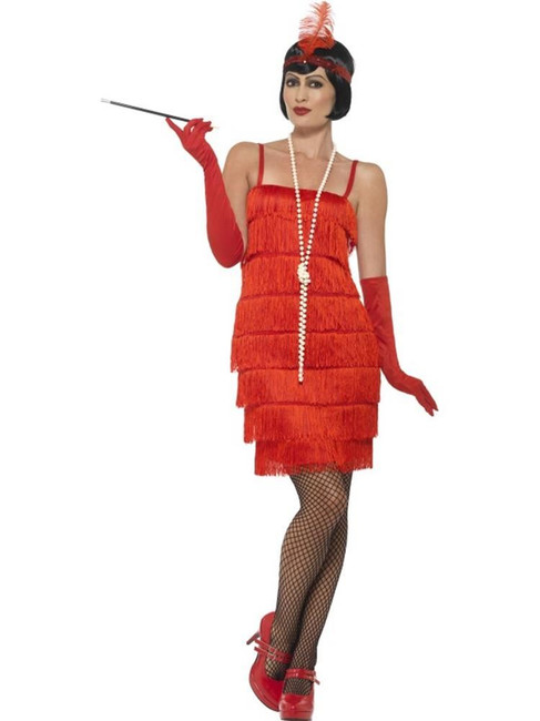 Flapper Costume,Large, Red, 1920s Charlston Fancy Dress Costumes,UK 16-18