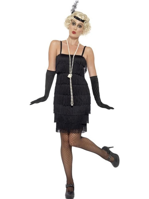 Flapper Costume,Large,1920s Charlston Fancy Dress Costumes,Black,UK 16-18