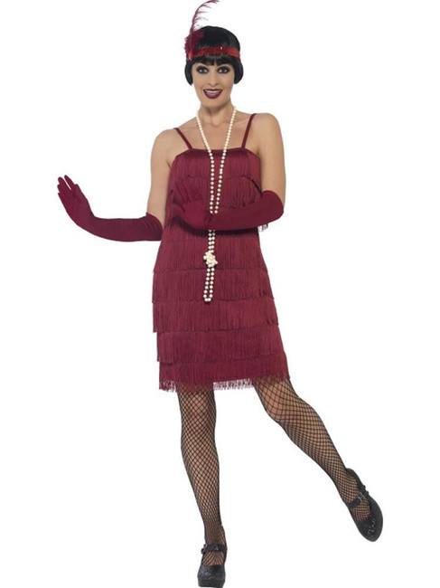Flapper Costume, Small, 1920s Charlston Fancy Dress, Red, UK 8-10