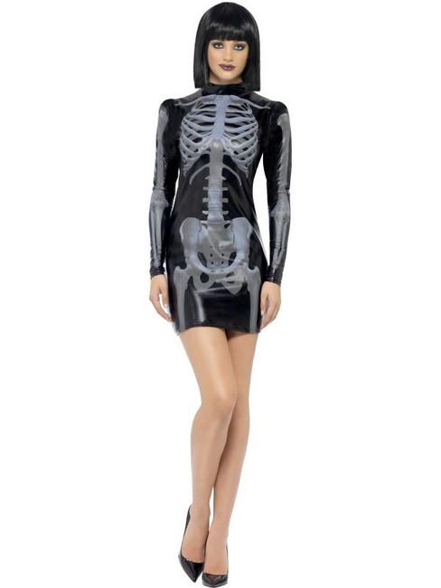 Fever Miss Whiplash Skeleton Costume, Small