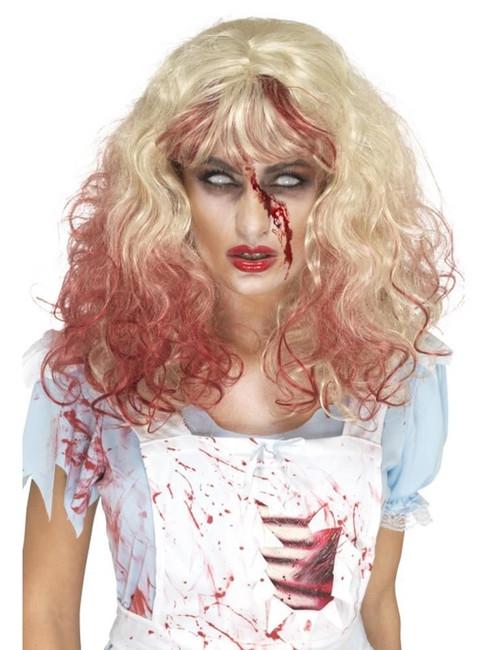 Blonde Zombie Bloody Alice Wig, Halloween Zombie Alley Fancy Dress