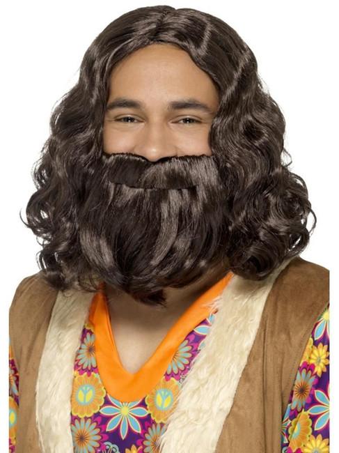 Brown Hippie/Jesus Wig & Beard Set, 1960's Groovy Fancy Dress