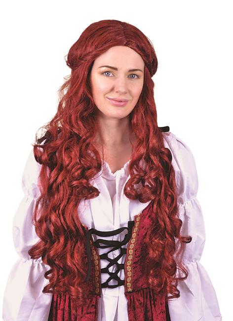 Medieval Lady Wig Long Auburn