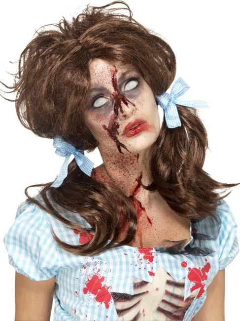 Zombie Bloody Country Girl Wig, Halloween Zombie Alley Fancy Dress