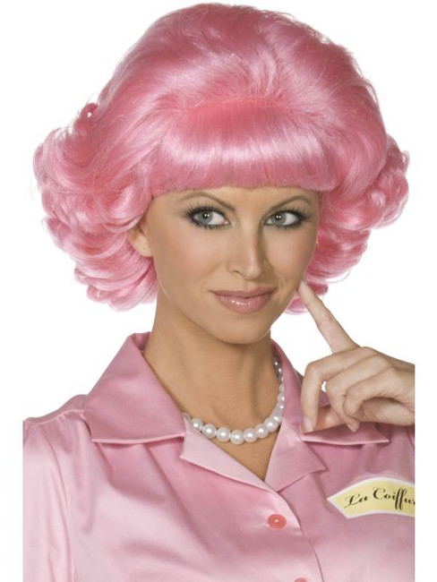 Short Pink Wavy Wig, Frenchy Wig, 1950's Fancy Dress Accessory