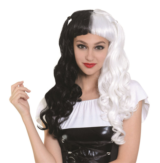 Long Wig Black/White Bunches