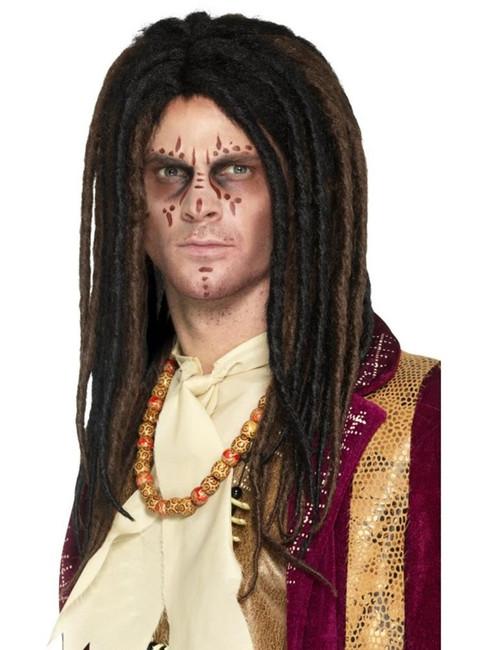 Brown & Bl Deluxe Voodoo Dreadlock Wig, Halloween Fancy Dress Accessories