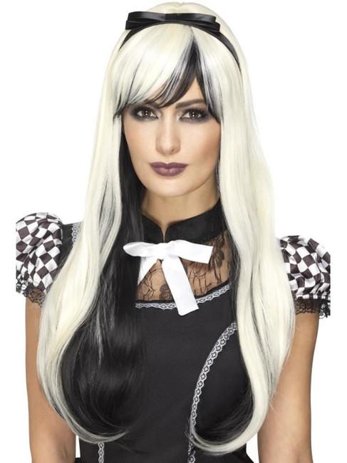 Blonde & Black Deluxe Gothic Alice Wig, Halloween Fancy Dress Accessories