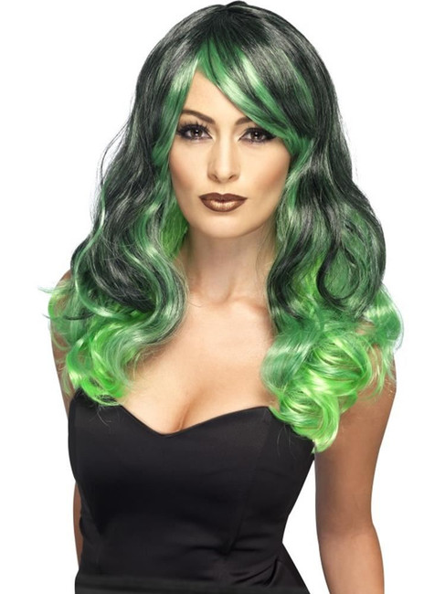 Ombre Wig, Bewitching, Halloween Fancy Dress, GREEN/ BLACK