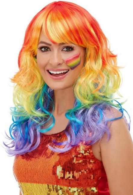 Rainbow Glam Wig, Fancy Dress Party Wig