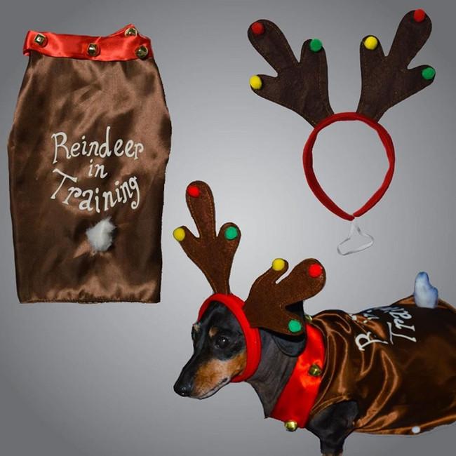 Christmas Pet Dog Reindeer Costume With Headband Small, Pet Gift