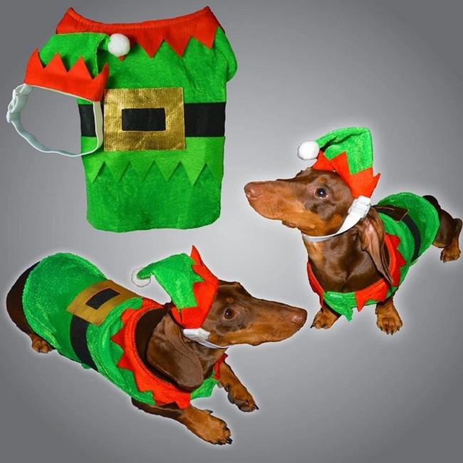 Christmas Pet Dog Elf Costume With Hat, Stocking Filler/Gift, Large