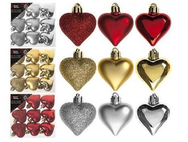 SET OF 9 4CM HEART DECORATIONS, Tree Decoration