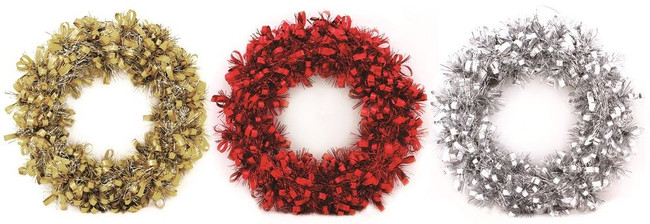 Christmas 25cm Tinsel Wreath Assorted Colours