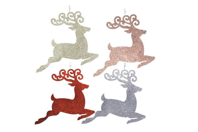 GLITTER LEAPING REINDEER 44x37cm, Tree Decoration