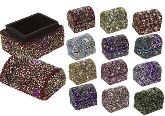 5.5X4.5X5CM GLITTER & DIAMOND CHEST WITH LID, Christmas Stocking Filler/Gift