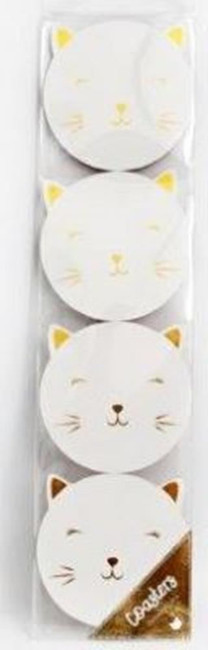SET OF 4 10X10CM CAT COASTERS, Christmas Stocking Filler/Gift