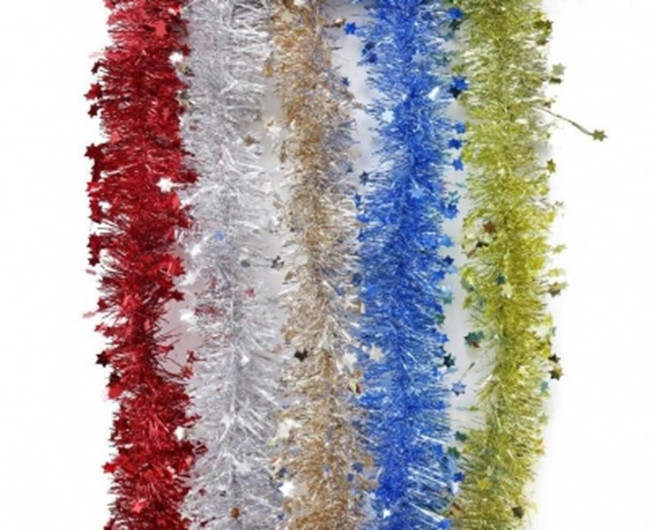 Christmas Fine Cut Tinsel With Die-Cut Stars 2 Metres Tree Decoration