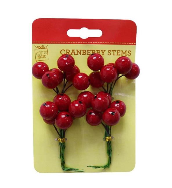 XMAS CRANBERRY STEMS 4pk, Christmas Decoration