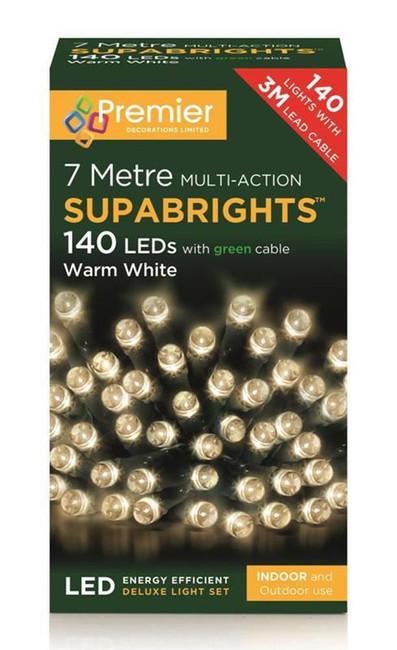 140 LED MULTI ACTION WARM WHITE SUPA BRIGHT LIGHTS,Christmas/Tree Decoration