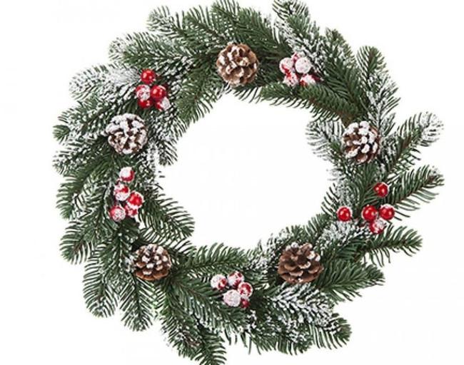 35CM PE SNOWY PINE & BERRY WREATH, Christmas Decoration