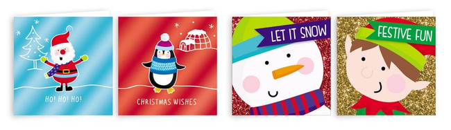 Pack of 20 Square Christmas Cards Compendium Novelty Design 4 Assorted
