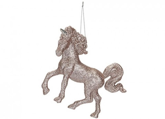 Unicorn 13cm Hanging Decoration Rose Gold  Tree Decoration