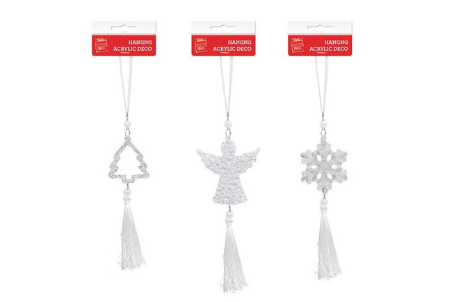 HANGING ACRYLIC DECO WITH TASSELS, Tree Decoration