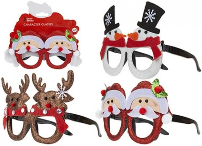 3D Christmas Character Glasses Assorted Designs, 1 per sale