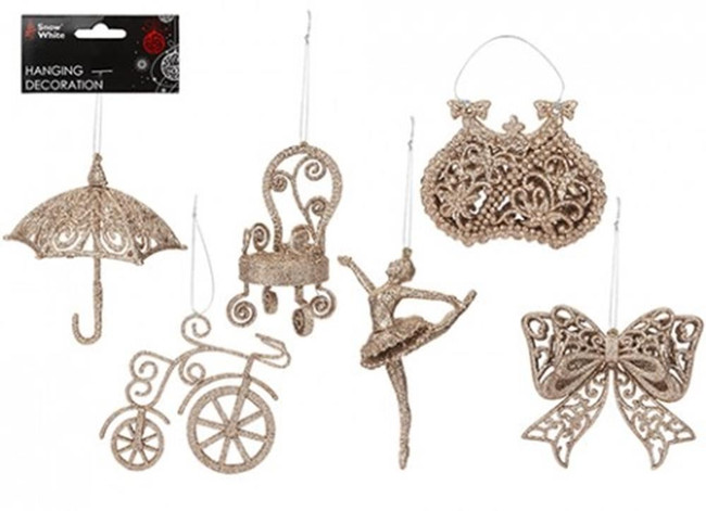 Christmas Hanging Decoration Assorted Designs - Rose Gold, 1 Per Sale