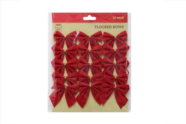 RED FLOCKED MINI BOWS 15pc, Tree Decoration