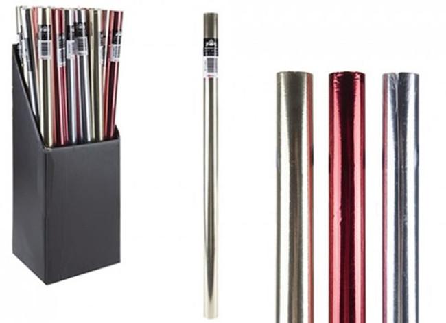 2m Plain Colour Foil 60g Gift Wraps, 1 per sale, Stocking Filler/Gift