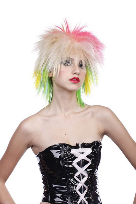 80's Female Multi Coloured Wig.