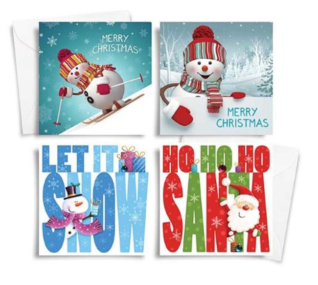 Pack of 10 Square Christmas Cards Cute Snowman Design